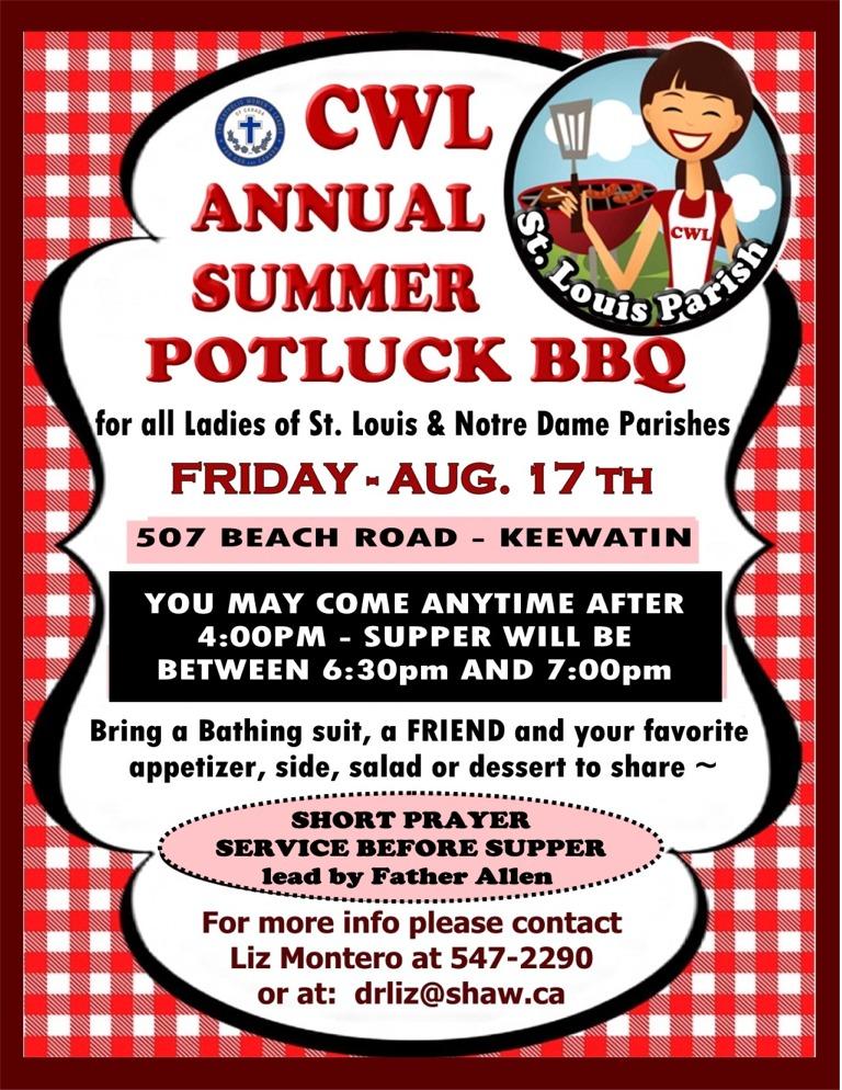 CWL Annual Summer BBQ Potluck POSTER for website 2018