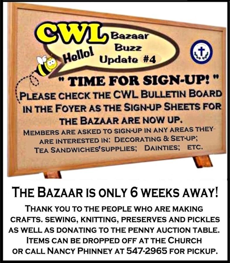 CWL Bazaar Buzz No 4 Bulletin Board website