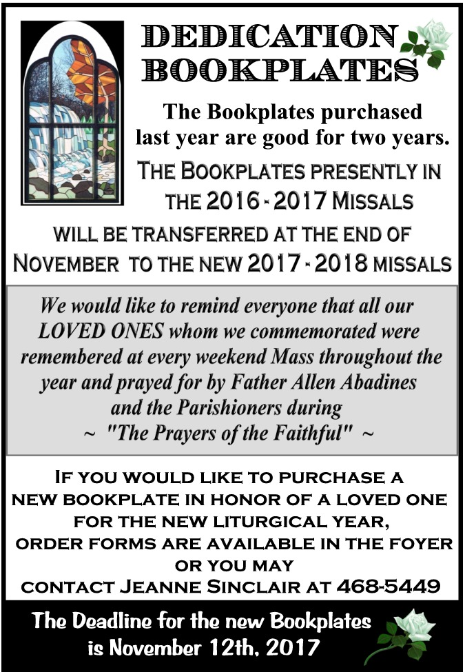 Dedication Bookplates - transfer to 2017-2018 Missals 4.5 for website.
