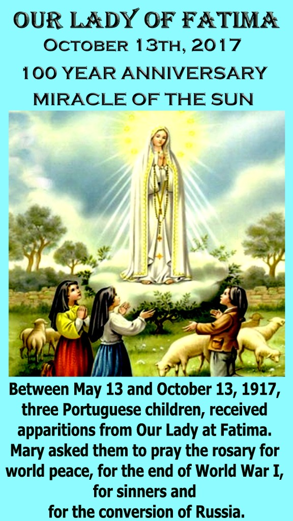 Fatima Oct 13th Miracle of the Sun 4.5 by 8