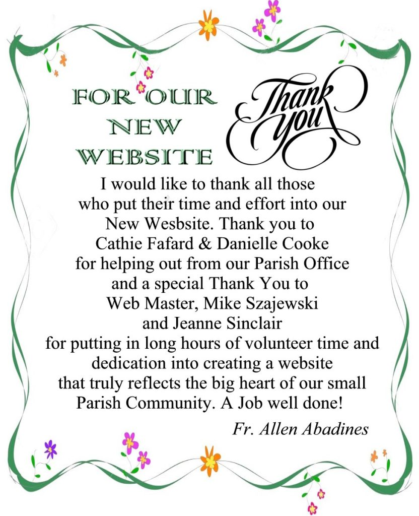Fr. Allen's thank you for new website 2