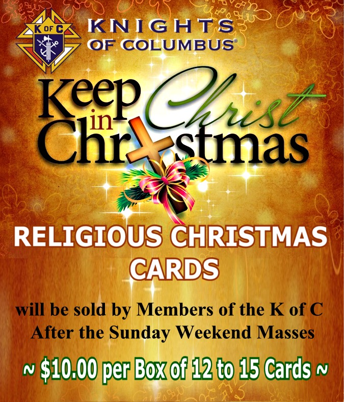 K of C Christmas Cards for Sale.... 4.5 by 5.25