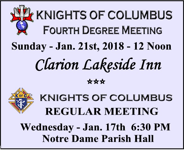 Knights of Columbus Mtgs website Jan 2018