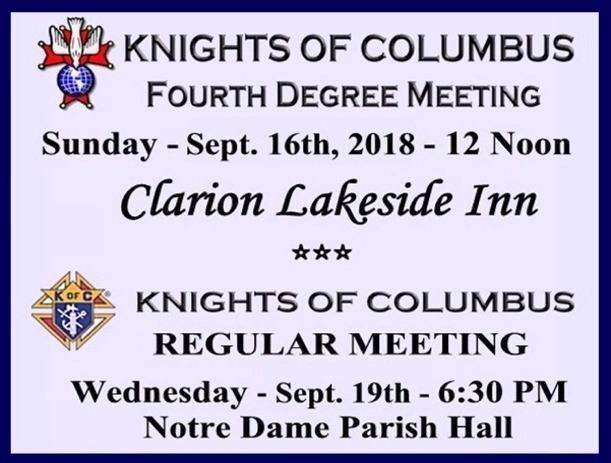 Knights of Columbus Sept 2018 Meetings