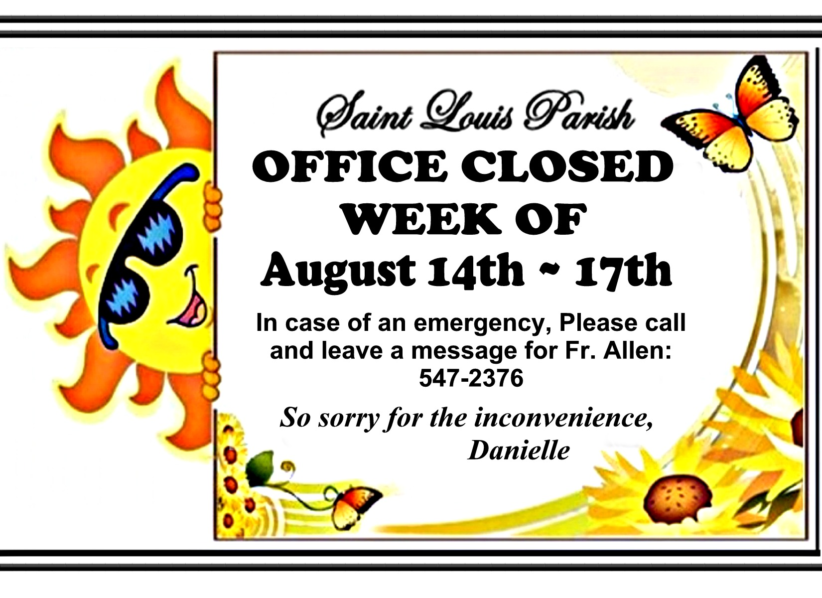 OFFICE CLOSED Notice Aug 2018 8.5 by 11