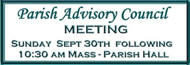Parish Advisory Council Meeting Sept 30, 2018 website