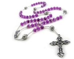 Purple Rosary extra space left 2 by 2 straight cross