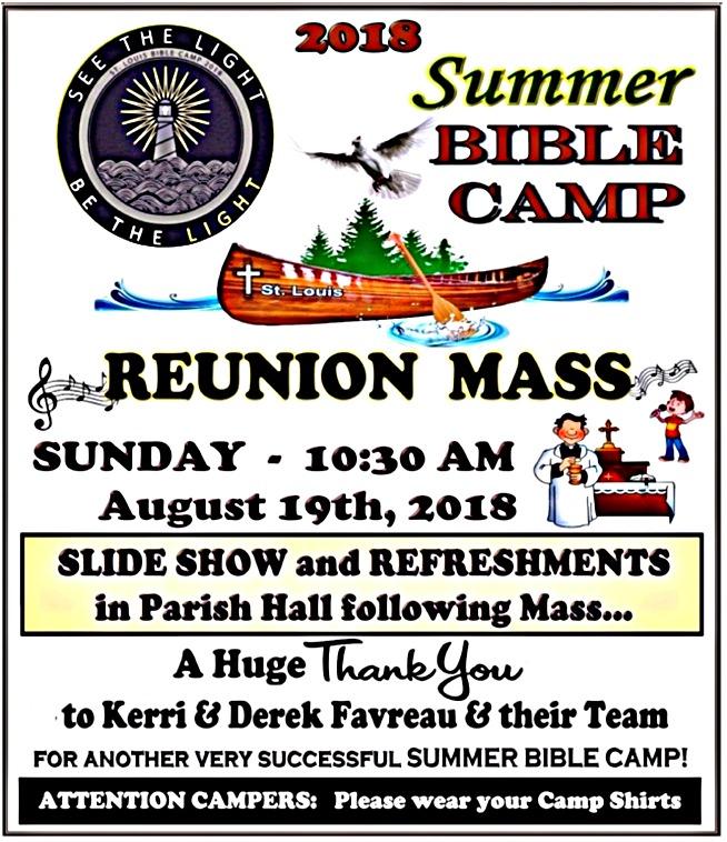 Summer Bible Camp Reunion Mass 2018