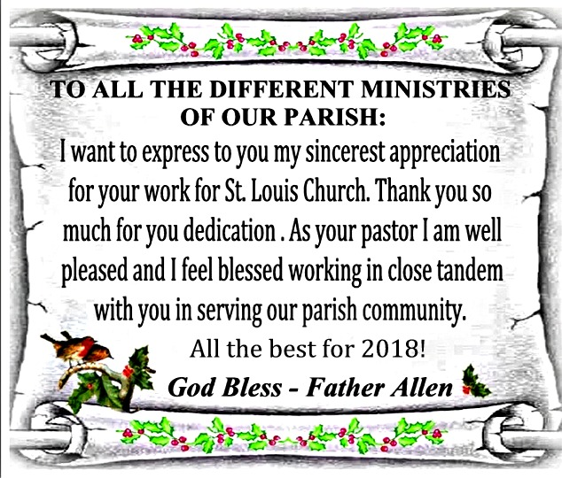 Thank you to Ministries Jan 2018