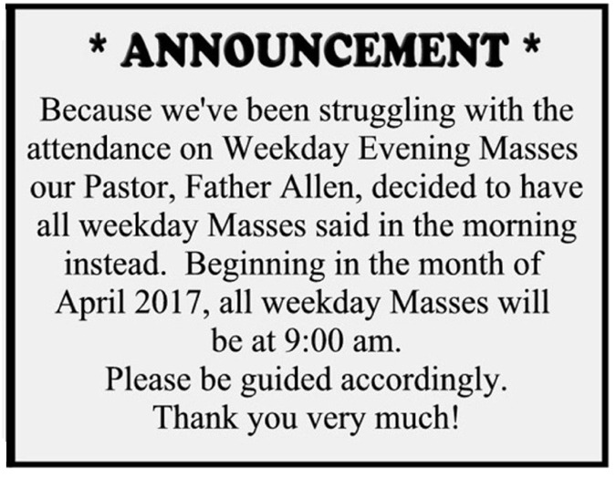 Weekday Masses changed 4.5 by 3.5