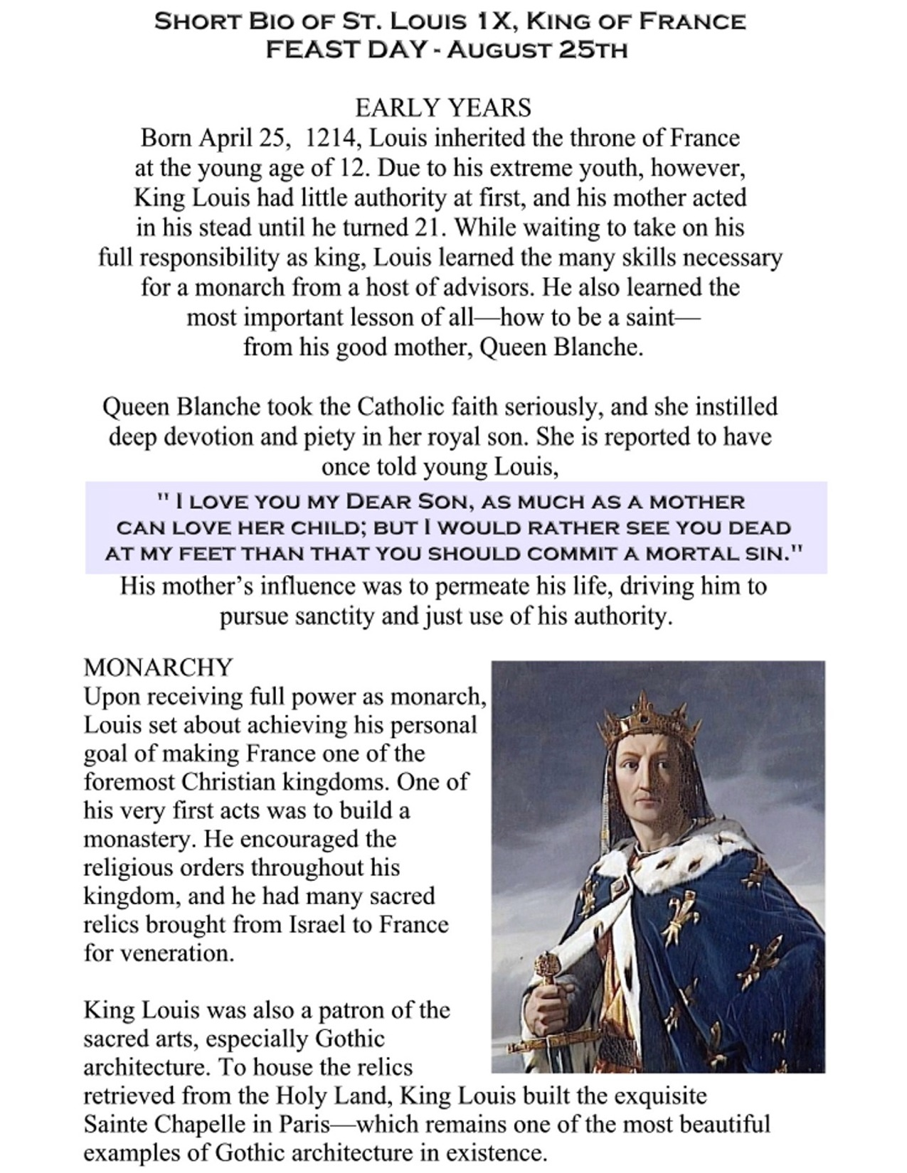 Saint Louis King of France pg 2 8.5 by 11