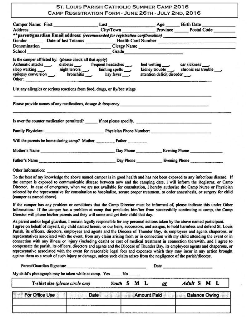 St. Louis Summer Camp Registration Form