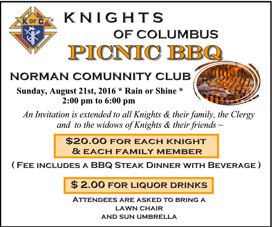 K of C Picnic large ad August 21, 2016