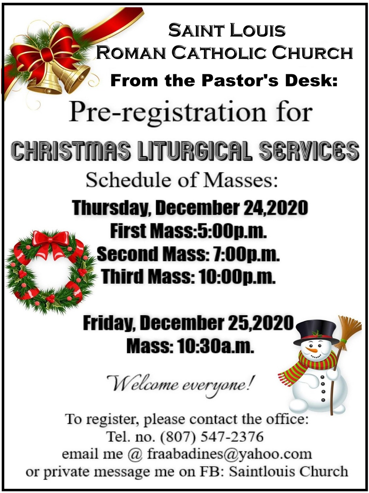 St. Louis - Pre-registration for Christmas Mass - 2