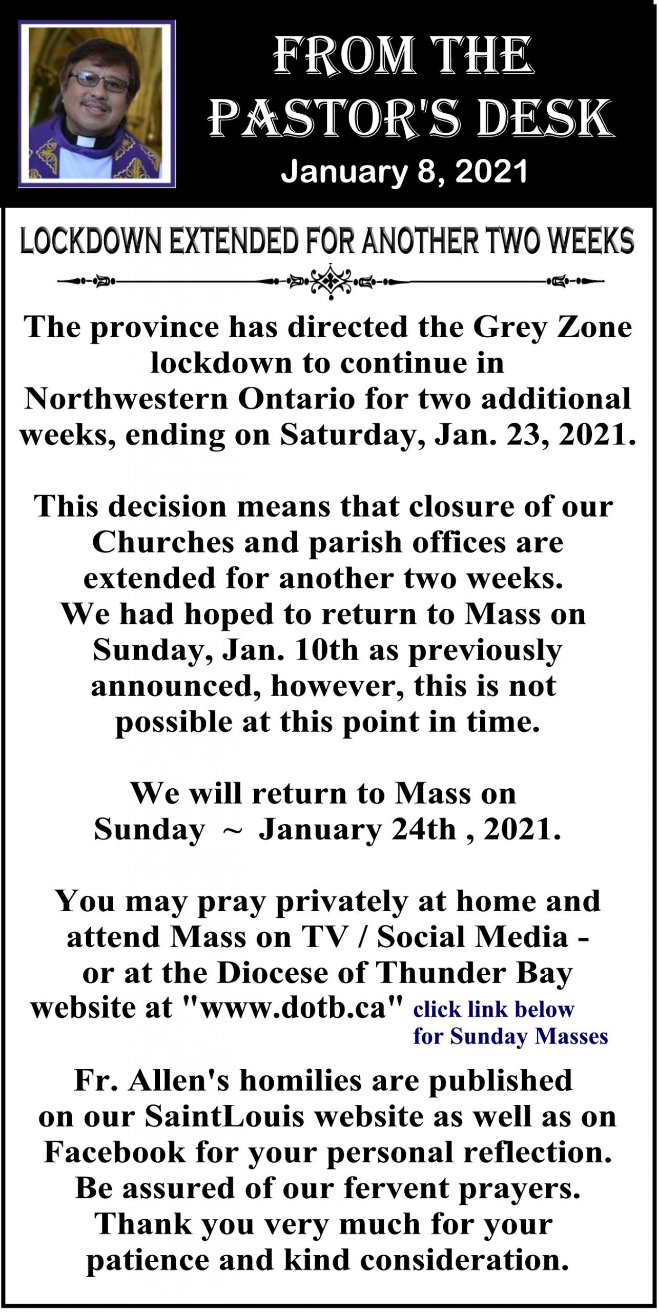 Saint Louis - Fr. Allen lockdown update Jan 8, 2021