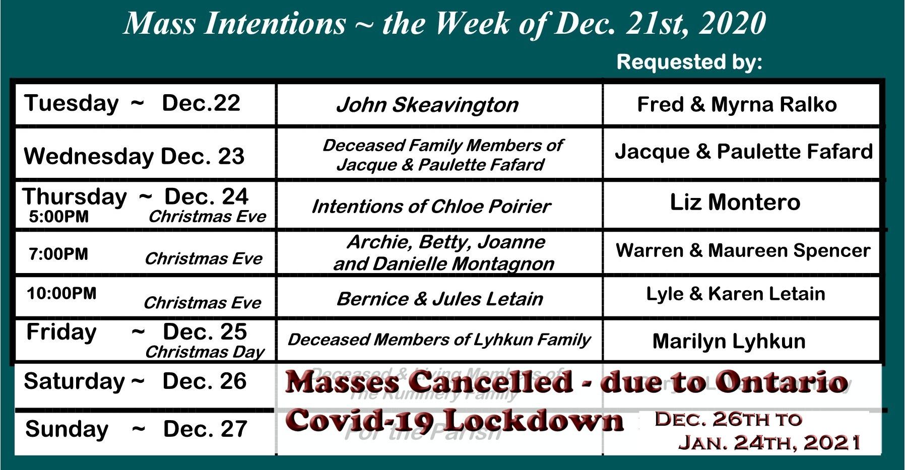 St. Louis - Cancellation update - Mass schedule De.26, 2020 updated Jan 8, 2021