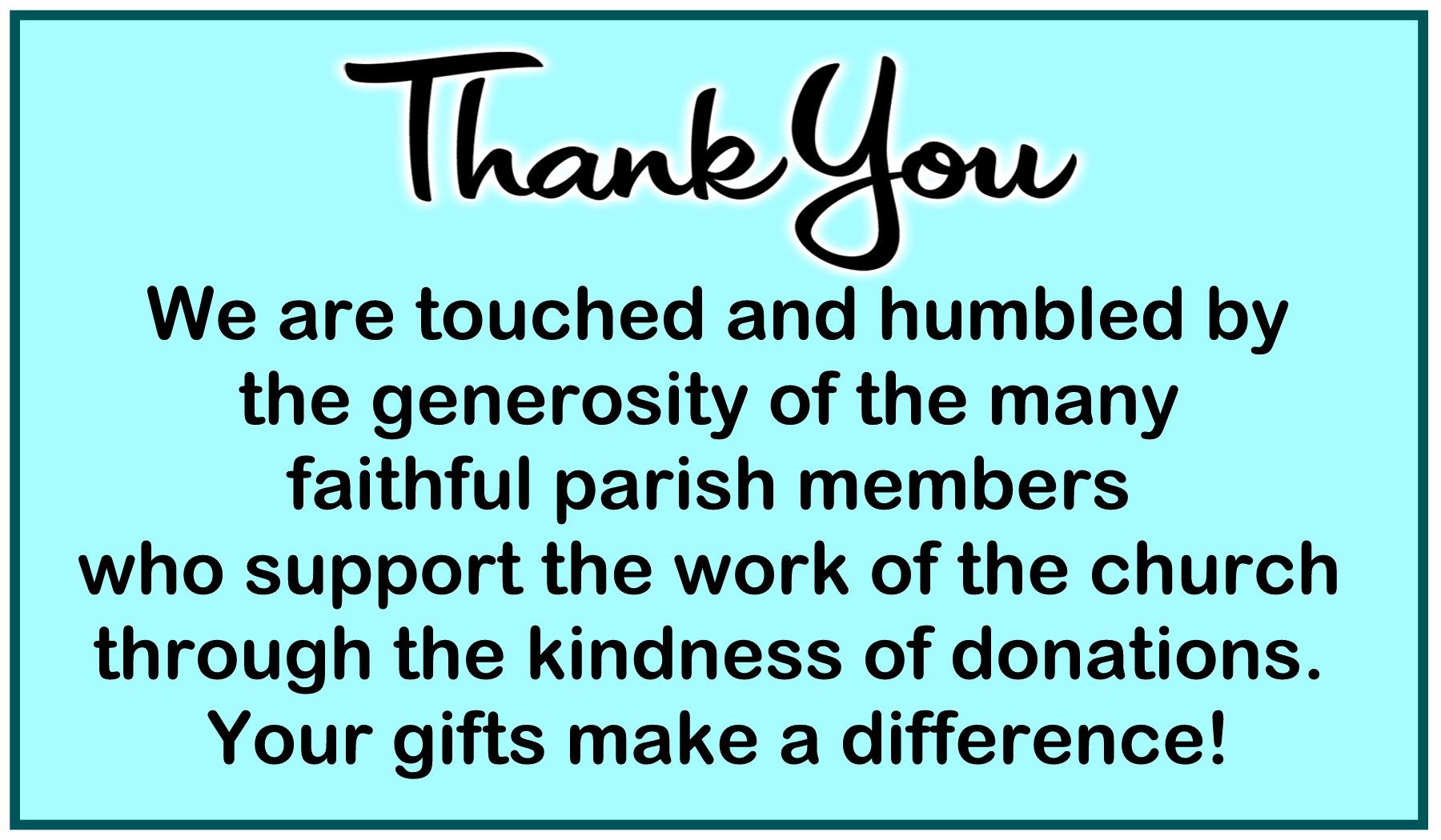 Thank you to Parishioners